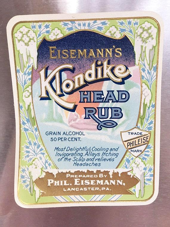 Klondike Head Rub Bottle Label - Vintage Circa 1900