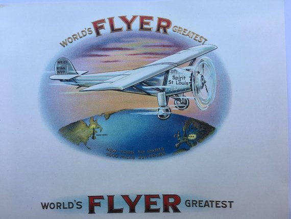 World's Greatest Flyer - Spirit of St. Louis - Charles Lindbergh - Inner Cigar Label