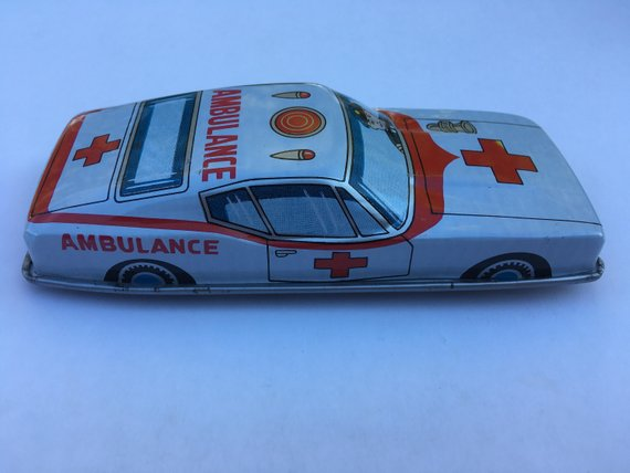 Tin Toy - Friction Ford Mustang Ambulance Tin Toy