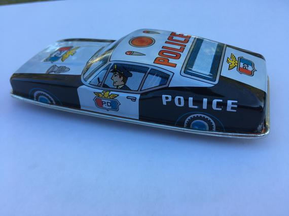 Tin Toy - Friction Ford Mustang Police Car - 1960's