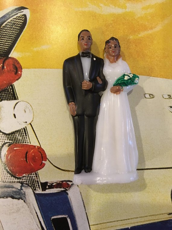 Vintage Hand Painted - Black Bride and Groom - Cake Topper