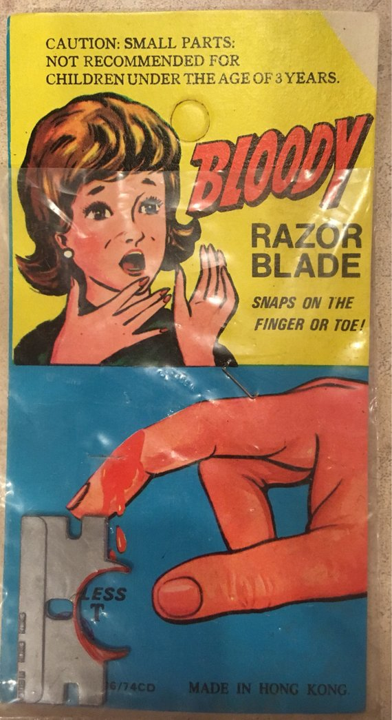 Old Carded Bloody Razor Blade Gag - 1960's NOS Dime Store