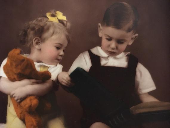 Adorable Framed Vintage Girl and Boy Portrait - Marshall Field & Co. Portraits Taken March 19 1946 - Almost 73 Years Old!