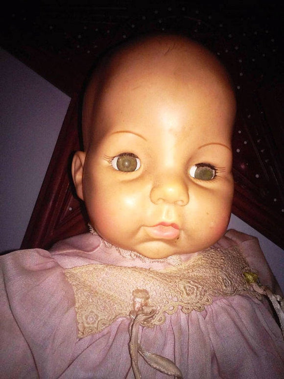 Super Creepy Vintage Doll for Gothic and Horror Art Doll Making
