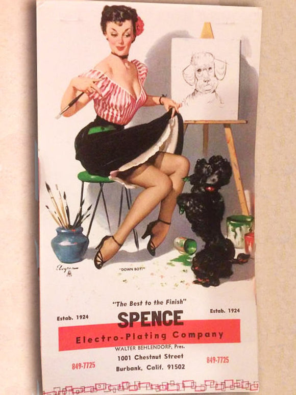 Vintage Pin-Up Girl - Paper Ephemera - Advertisement - Note Pad, New Old Stock -Artist Theme - Dog - Spence Electro-Plating Co- Sexy Risque