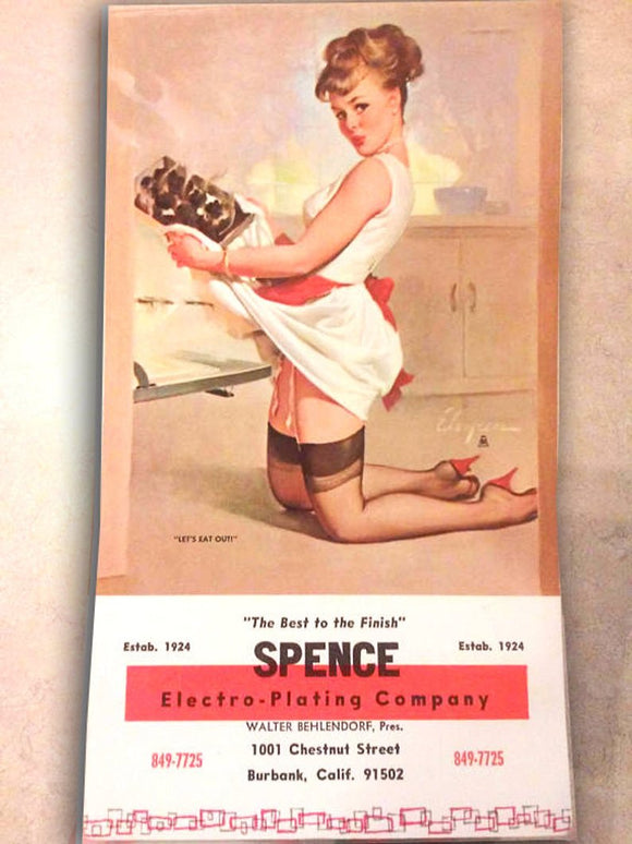 Vintage Pin-Up Girl - New Old Stock - Note Pad - Paper Ephemera - Advertisement - Kitchen - Spence Electro-Plating Co Sexy, Risque -Man Cave