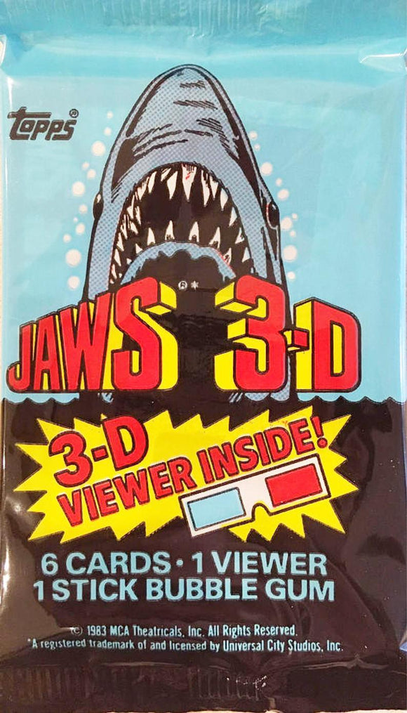 Pack of Jaws 3-D Trading Cards with Viewer and Bubble Gum