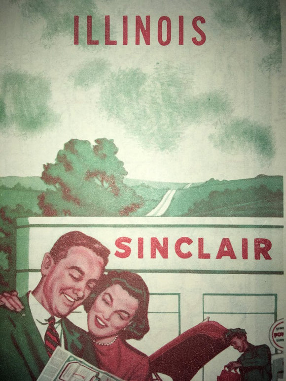 Illinois Sinclair Map - Vintage 1950's - Petroliana - Gas Station Paper Ephemera