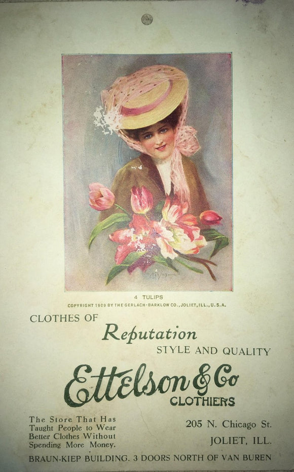 Vintage Ettelson & Co Clothiers Post Card - Copyright 1909 - Joliet ILL - Vintage Paper Ephemera