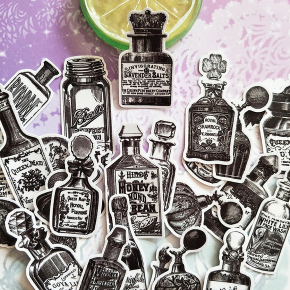 Vintage Black & White Bottle Stickers - 25 Pieces!