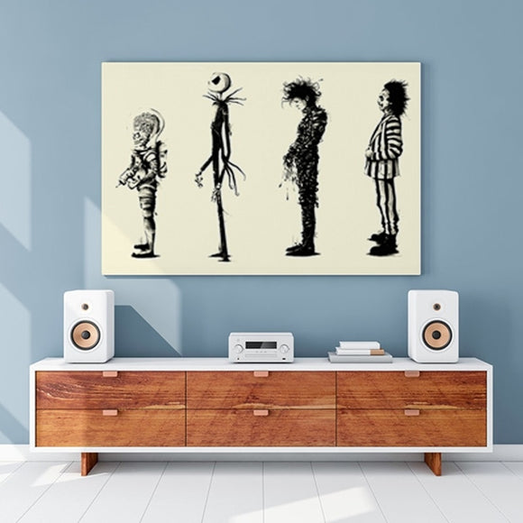Tim Burton Movies -  Beetlejuice/Edward Scissorhands/Nightmare Before Christmas/Mars Attacks - Movie Poster HD Print Poster Wall Art