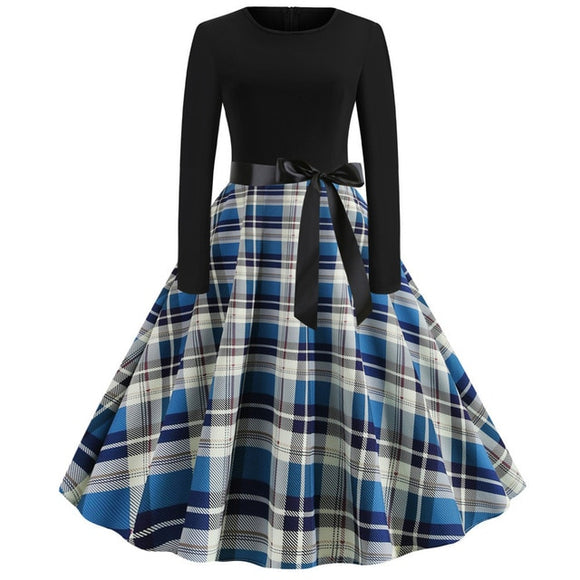 Autumn / Winter Retro Style (Reproduction) Plaid Dress - 50's / 60's Style! - Multiple Patterns Available!