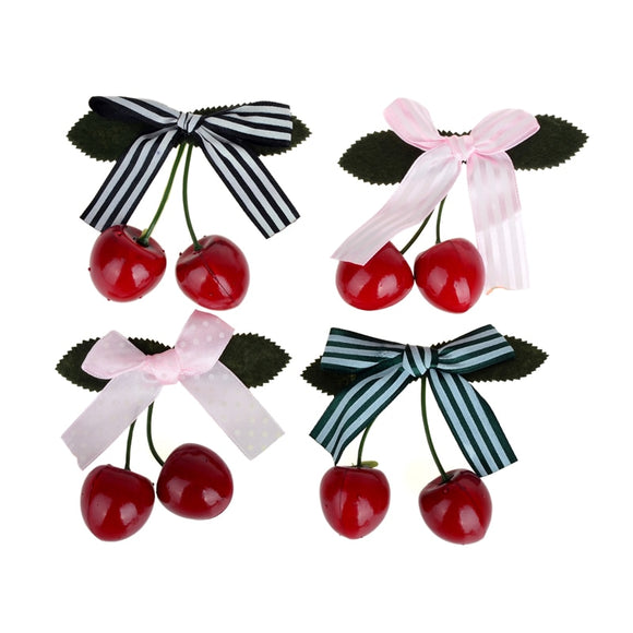 Cute Cherry Bow Hair Clip Headwear for Women & Girls - Rockabilly/Vintage Style