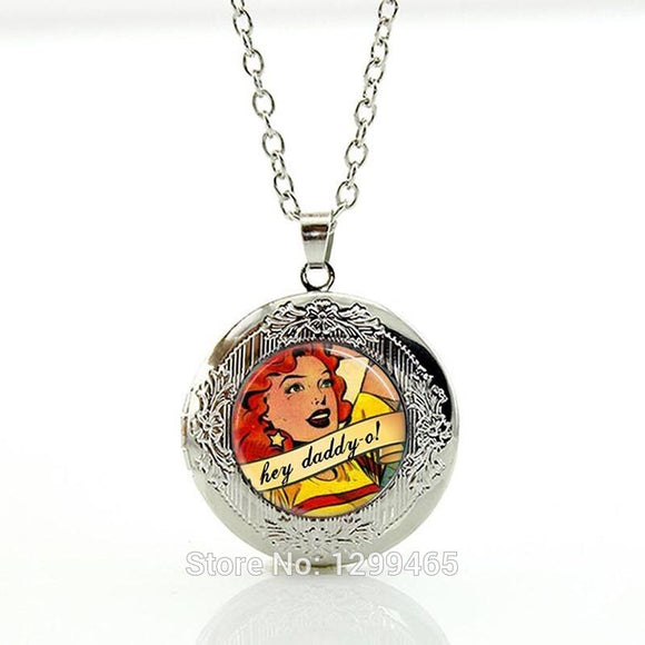 Rockabilly Jewelry Hey Daddy O Pulp Fiction FemmeFatale Comic Art Pendant