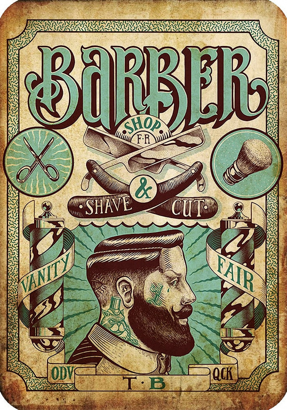 Vintage Style Barber Poster on Kraft paper