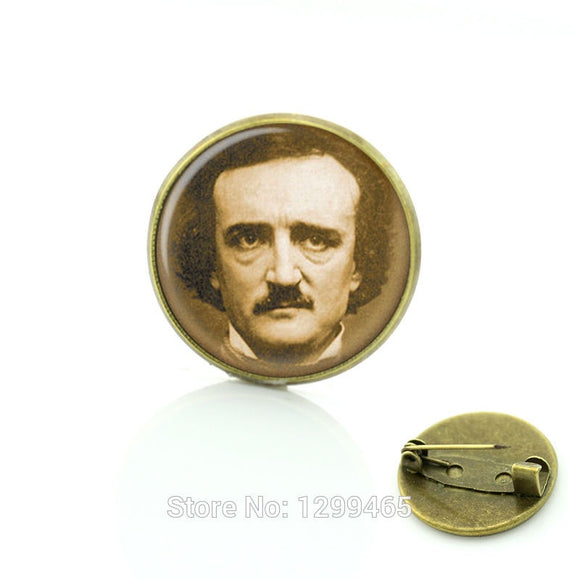 Edgar Allan Poe Glass Cabochon Dome - Vintage Style Brooch Pin