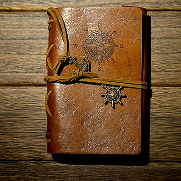 Spiral Notebook/Diary - Vintage Look - Pirate Anchors