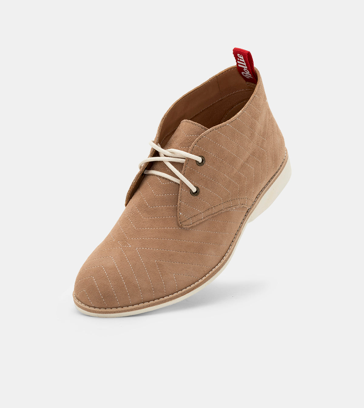 Rollie Chukka Embroidered Taupe Suede Shoes