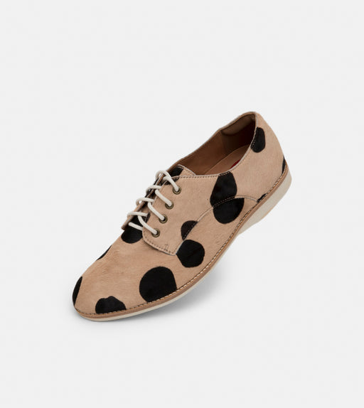 Rollie Derby Beige/Black Spot Shoes