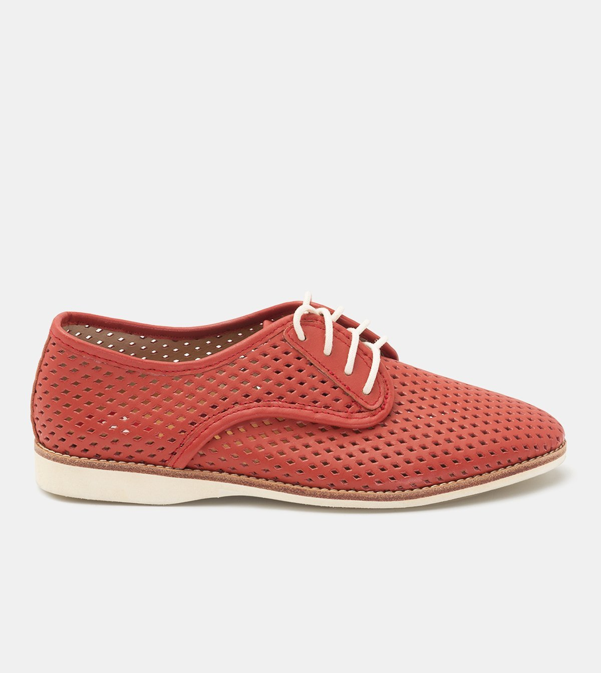 Rollie Derby Punch Red Flat Leather Comfortable Walking