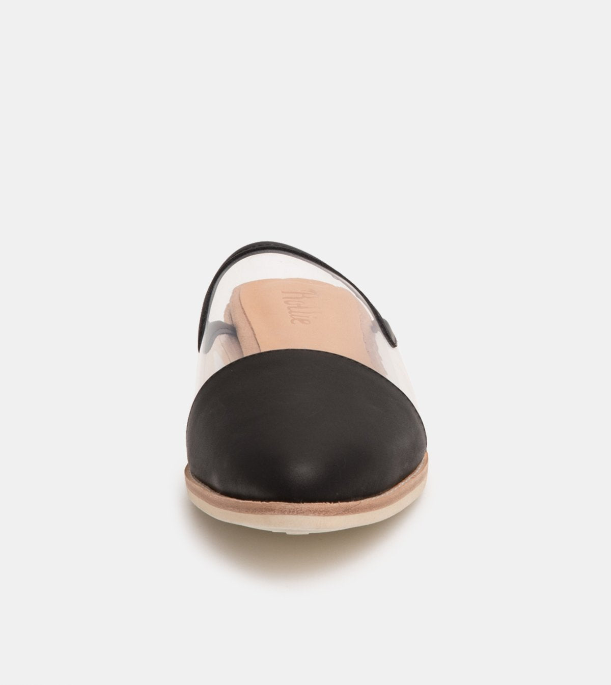 Rollie Madison Mule Clear/Black Toe Cap Shoes