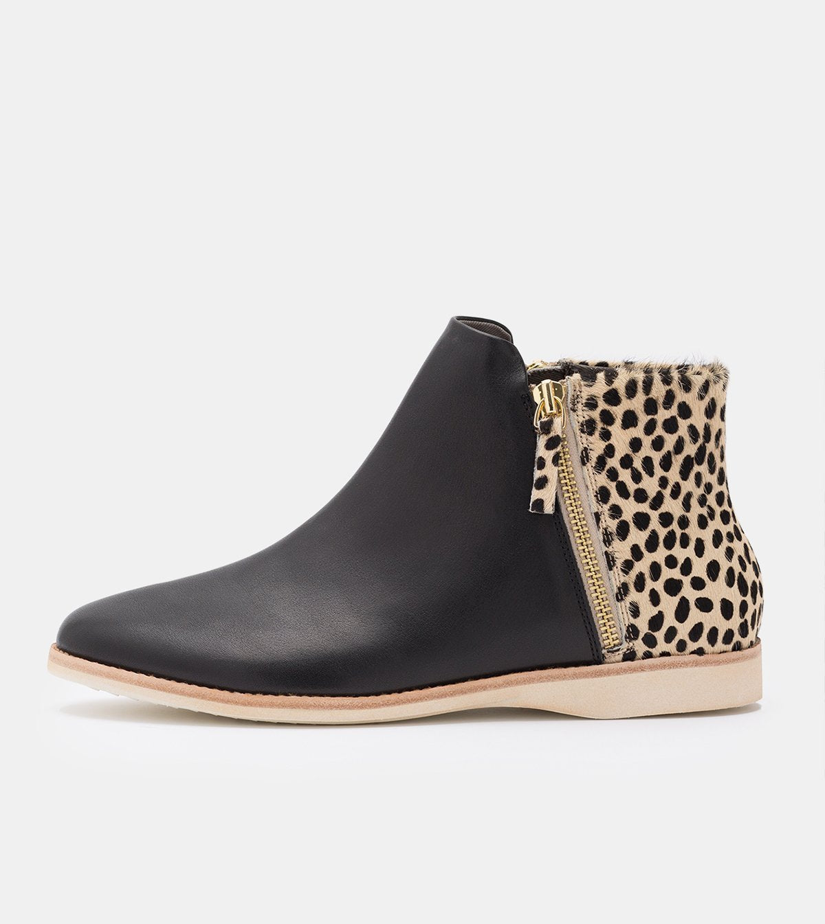 Rollie Side Zip Boot Black/Cheetah Shoes