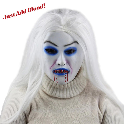 White Hair Witch Zombie Bride Mask