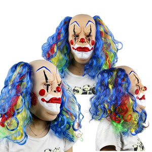 Long Rainbow Hair Classic Style Clown Mask