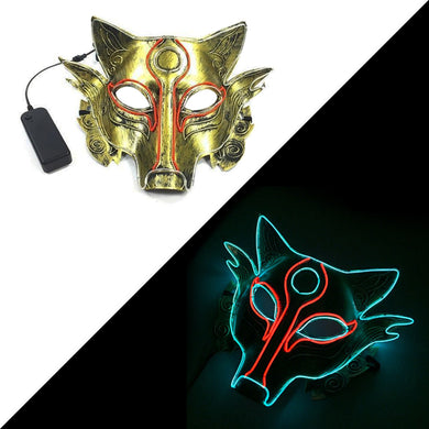 Indie Chakra LED Light Up Wolf Party Festival Glow Rave Mask