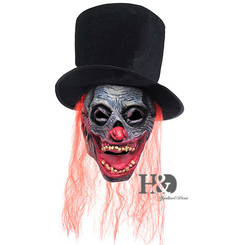Red Haired Fancy Skull Mask with Cap