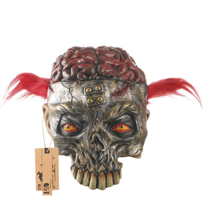 Exposed Brain Red Pigtails Skeleton Girl Mask