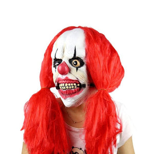 Scary Clown Mask with Red Pigtails