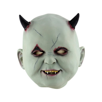 Smiling Baby Demon Mask with Horns and Fangs