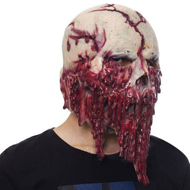 Horrific Melting Bloody Cracked Skull Mask
