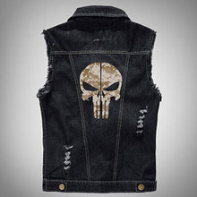 Load image into Gallery viewer, The Punisher Male Denim Sleeveless Biker Vest (8 Colors)