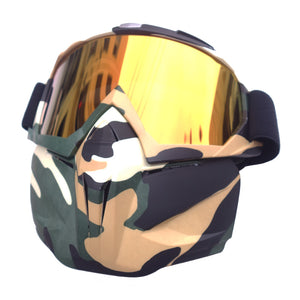 Woodland Camo Tactical Mask with Warm Spec Goggles