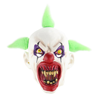 Green Hair Bloody Mouth Evil Joker Clown Mask