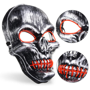 LED Light Up Two Tone Skull Face Mask