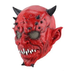 Scary Horned Red Devil Mask