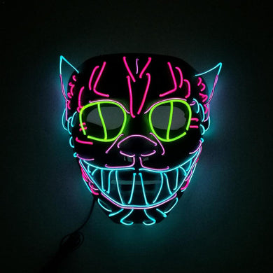 Glowing LED Light Up Cat Multi-Color Mask