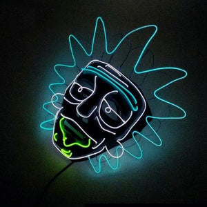 Rick and Morty LED Light Up Mask Halloween Cosplay Funny Neon Party Full Face Mask