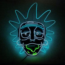 Load image into Gallery viewer, Rick and Morty LED Light Up Mask Halloween Cosplay Funny Neon Party Full Face Mask