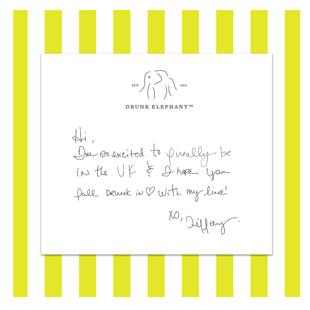 UK Handwritten Tiffany Note on Marula Yellow Striped Background