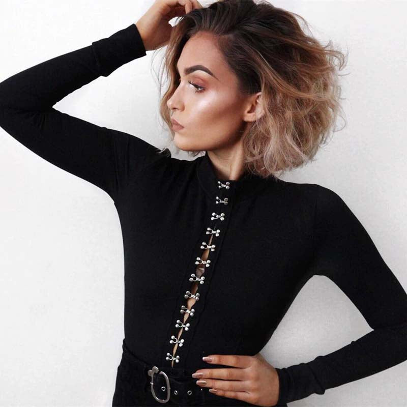 Black Hook Long Sleeve Bodysuit