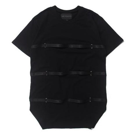Black t-shirt designed with horizontal straps. Perfect for rocking a military tactical look without using bulky and warm outerwear.