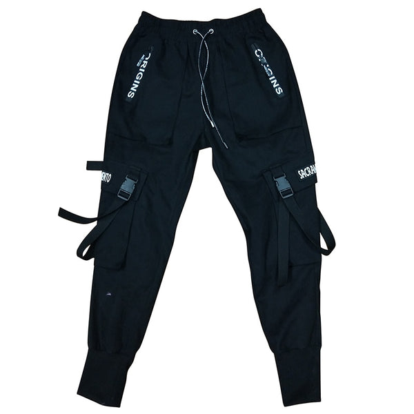 black tech wear tactical joggers featuring military pockets. best streetwear style in 2019