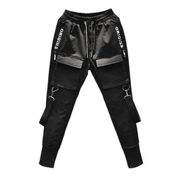 Black tactical joggers with military front pocket and ribbons