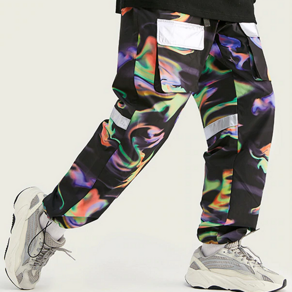 FW Men Die Dye Jogger Pants Loose Fit Men Streetwear Jogger Pants Elastic Waist Men Fashion Tie Dye Jogger Pants