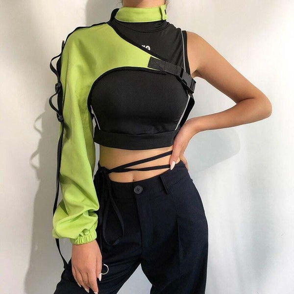 Stabilo Neon One Shoulder Crop Top