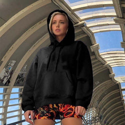 Sweetown 2019 Autumn Winter Long Hoody Sweatshirt Women Casual Loose Oversize Pockets Pullover Solid Korean Streetwear Hoodies